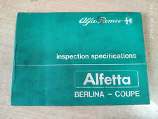 Vintage Rare! 1983  ALFA ROMEO Alfetta inspection specifications ENGLISH UKpost