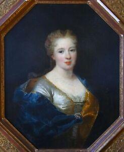 Tableau ancien - Portrait de femme - Ecole française du XVIIIe siècle - Encadré