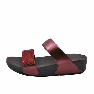 FitFlop Lulu Crystal Oxblood Red Women's Embellished Sandals EJ9-894