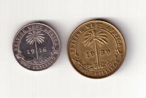 BRITISH WEST AFRICAN 2 SHILLINGS AND SILVER ONE SHILLING 1939 AND 1916.