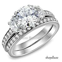 Women's Stainless Steel Round Cut AAA CZ Wedding Ring Set Size 5,6,7,8,9,10