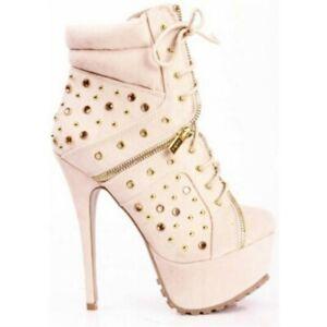Women's Platform High Heels Ankle Boots Rivet Round Toe Lace Up Stilettos Shoes