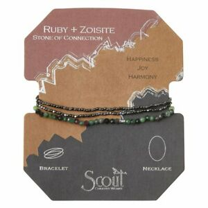 Scout Delicate RUBY & ZOISITE Stone of Connection Wrap BRACELET NECKLACE SD025