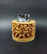 More details for vintage table top lighter carved greek key/figures heavy ablabaster? non working