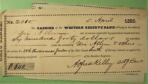 Bank Check, Ohio Canal, Engineer's Verification of work done & Check to pay.