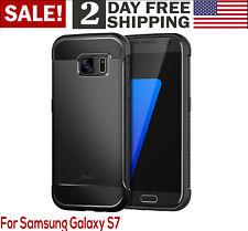 Samsung Galaxy S7 Slim Shockproof Hard Protective Case Cover Carbon Fiber Bla...