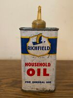 RARE VINTAGE RICHFIELD HOUSEHOLD OIL TIN CAN HANDY OILER