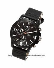 Softech Gents Black Dial Watch, Black Finish Case, White Markers, Black Strap