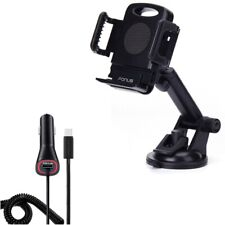 Power Type-C Quick Charger w Windshield Dash Car Mount for USB-C Phones