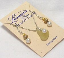 LUNASEA TREASURES SEA GLASS YELLOW GOLD WHITE PEARL STER SILVER NECK EARRING SET