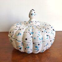 Vtg MCM Ceramic Art Pottery Covered Candy Trinket Dish Speckled Blue Scalloped