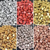 CHOOSE COLOR! 40pcs 6x6mm Tile Beads Metallic Colors Flat Square Czech Glass