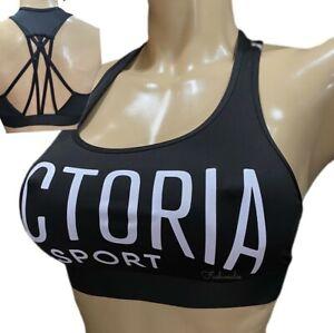 Victoria Secret The Player Unlined Victoria Sport Strappy Racerback Bra Black S