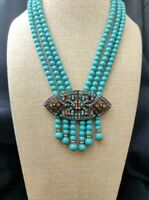 "Heidi Daus ""Absolutely Apropos"" 3-Strand "" Tassel Drop Necklace NWT"