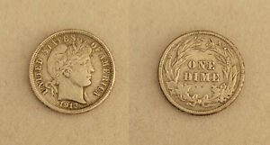 1913 Barber Liberty Head 10C cents dime US coin WHIZZED? well circulated