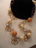 New Stein Mart Necklace Single Strand  w  Faux Pearls &  Orange & Green Beads