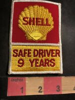 Vtg Gasoline / Oil SHELL SAFE DRIVER 9 YEARS Trucker Advertising Patch 94MF