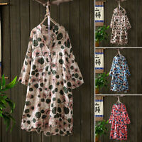 ZANZEA Women Buttons Neck Floral Print Long Shirt Tops Stand Collar Blouse Plus