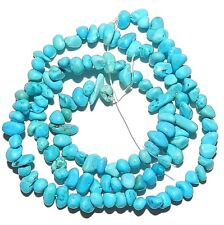 NG2226 Blue Turquoise Small 5mm - 8mm Polished Chip Magnesite Gemstone Beads 15""