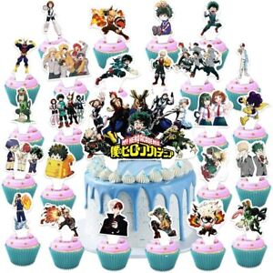 Toniya 25 Pcs My Hero Academia Cake Toppers Mha Happy Birthday Party Supplies An