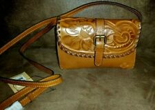 NWT New PATRICIA NASH Torri Burnished Tooled Leather Crossbody Bag Purse Brown