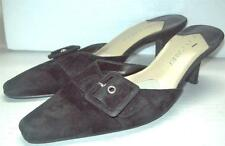 LAURA ASHLEY Mule Demure SLIDE Slip-on Shoes Suede BLACK LEATHER Kitten Heel 7M