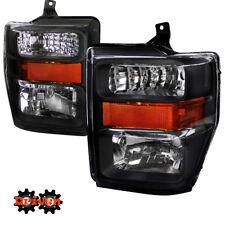 08-10 Ford F250 F350 Super Duty Black Housing Headlights w/Amber Reflector SDV1