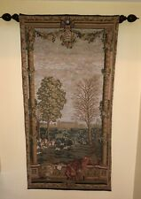 European Castle + Hunting Scene Decorative Woven Tapestry Vertical Wall-hanging