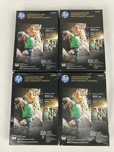 """Lot of 4 HP Advanced Photo Paper 4""""x6"""" Glossy 100 Sheets New in Box - 400 Total"""
