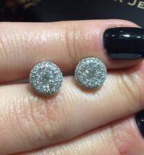 HALO DIAMOND STUD EARRINGS 18CT WHITE GOLD 0.85CT DIAMONDS STUDS GOY500