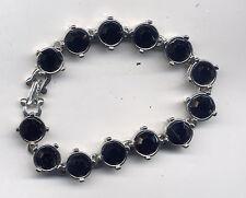 Kenneth Lane Black Silver Rhinestone Bracelet