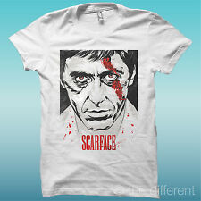 T-SHIRT SCARFACE BLOOD AL PACINO  BIANCO THE HAPPINESS IS HAVE MY T-SHIRT NEW