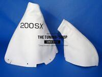 "Gear & Handbrake Boot For Nissan 200SX S14 Silvia 2 panels White Leather ""200SX"""
