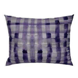 Plaid Hand Painted Watercolor Check Purple Grape Weave Pillow Sham by Roostery