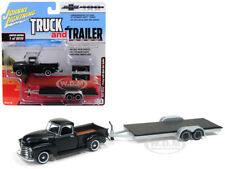 1950 CHEVROLET PICKUP TRUCK BLACK W/ CAR TRAILER 1/64 JOHNNY LIGHTNING JLSP021