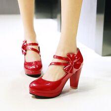 New Fashion Womens High Block Heels Mary Jane Round Toe Platform Shoes Plus Sz