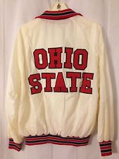 Vintage 1980's Ohio State Buckeyes Champion Nylon Cream Full Snap Jacket Coat XL