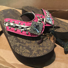 617636fe36daf3 Volleyball Flip Flops Montana West Rhinestone Cushion Wedge Sandals Ladies  9 10