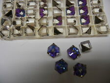12 swarovski crystal 3/4 flatback cubes,10mm heliotrope Z #4841