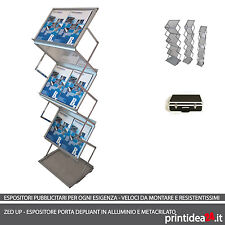 Espositore ZED UP - PORTA DEPLIANT A5 in alluminio e metacrilato con valigetta.