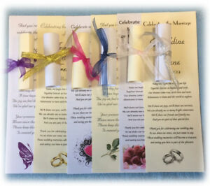 150 Personalised Wedding Favour Scrolls, with Organza Ribbon, 5 poems & 5 styles