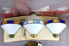 Set of 3 Art deco 1970's Metal plexiglass Coloured Sconces wall lights French