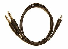 """3ft. 3.5mm TRS Stereo to 2 x 1/4"""" (6.3mm) Stereo TRS Splitter Y Cable Adapter"""