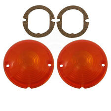 57 Chevy Parking Light Lamp Turn Signal Lenses AMBER & Gaskets - PAIR USA Made
