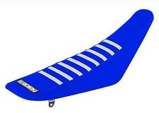 Yamaha YZ 125 250 1996 - 2001 Ribbed Gripper Seat Cover Blue White Ribs Moto X
