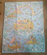 New Precious Moments Noah's Ark crib quilted blue fabric panel 35 1/2 x 40