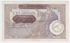 100 Dinara 1941, Germany Occupation Nazi Stamp, Yugoslavia Serbia banknotes !
