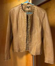REBA BROWN LEATHER JACKET-Brass Studs Hoops-Blazer/Jacket-Pockets-Lined-Sz L EUC