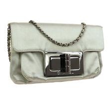CHANEL CC 2.55 Single Chain Shoulder Bag 7742618 Purse Silver Satin Auth JT07414
