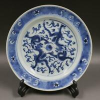 Chinese Old Porcelain Blue and White flat Plate-Dragon